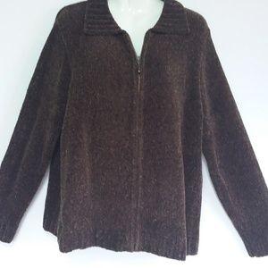 Croft & Barrow Plus 1X Brown Zip Front Sweater